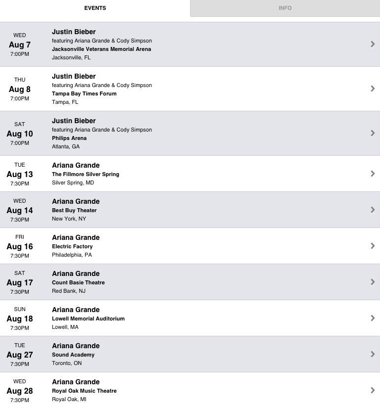 Ariana grande tour dates in Australia